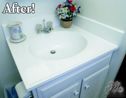 After: The Same Cultured Marble Vanity/sink Refinished In White!