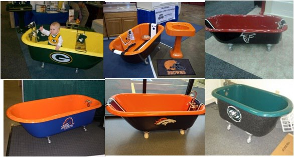 Bathtubs for football fans miracle method surface for Sports themed bathroom ideas