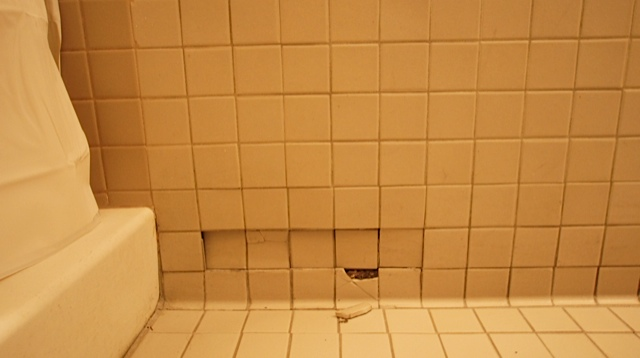 Before:  Tile is damaged and grout is impossible to keep clean.