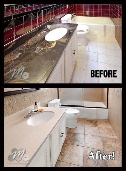 Don 39 t replace outdated cultured marble countertops for Replace bathroom countertop