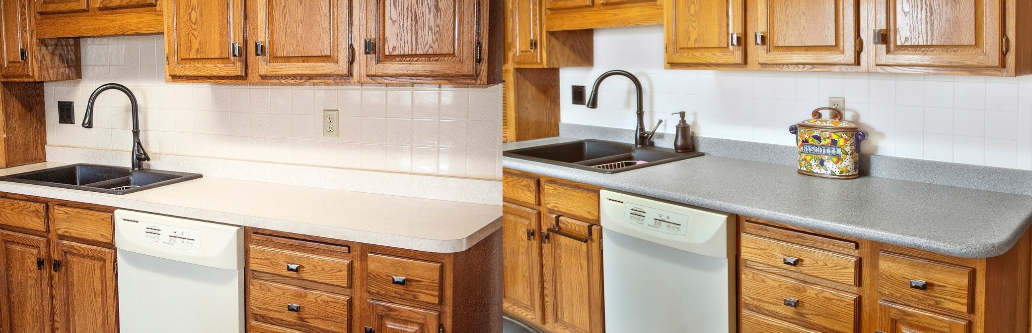 8 beautiful kitchen countertop transformations for Replace bathroom countertop