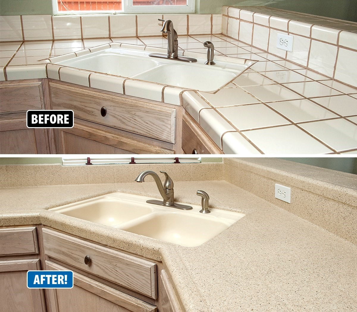 Countertop Refinishing Revitalizes Outdated Kitchens